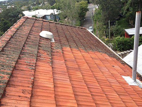 Partially cleaned roof